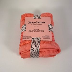 🆕 Juicy Couture Coral Washcloth Towel 4-pack